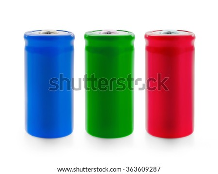 Three color battery isolated on white with clipping path