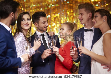 Three couples celebrating the party