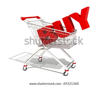 three-dimensional image of shopping carts with the text