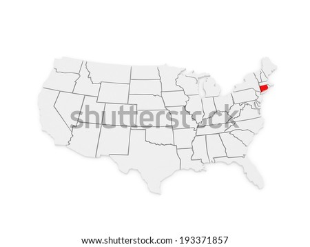 Three-dimensional map of Connecticut. USA. 3d