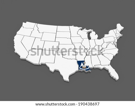 United States D Vector Map Stock Vector Shutterstock - Louisiana on usa map