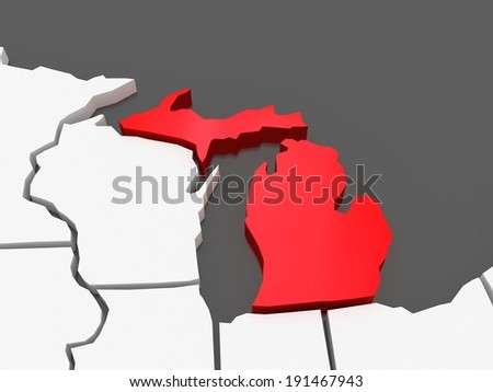 Three-dimensional map of Michigan. USA. 3d