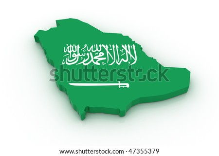 Three dimensional map of Saudi Arabia in Saudi Arabian flag colors.