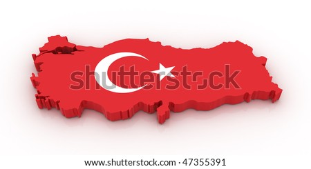 Three dimensional map of Turkey in Turkish flag colors.
