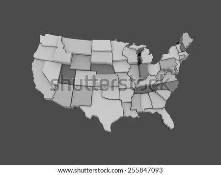 Three-dimensional map of USA. 3d
