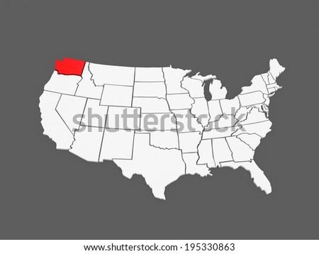Three Dimensional Map Of Washington Usa 3d