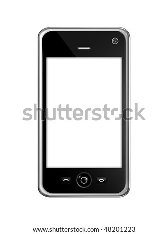 three dimensional mobile phone isolated on white with clipping path