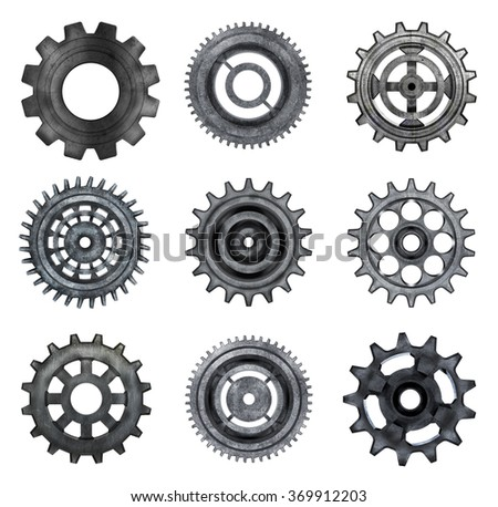 Three-dimensional models of metal gear wheels on a white background