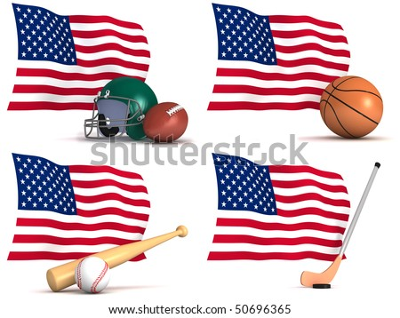 Three dimensional render of four of the most popular sports played in the USA