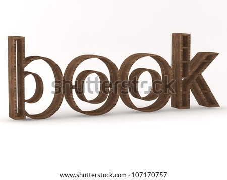 Three-dimensional shelf  with white background. Book word shape.