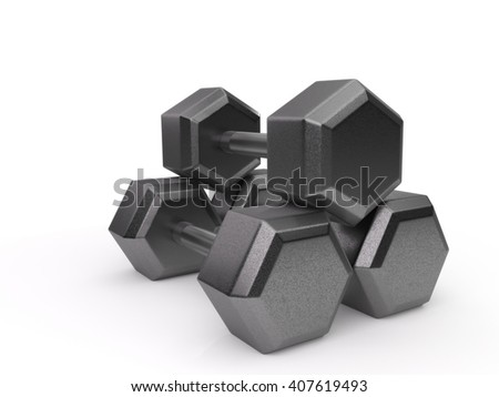 Three dumbbells stacked and isolated on a white background. 3D illustration.