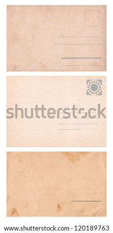 Three empty postcards isolated on white: set 1