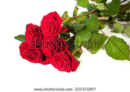 Three fresh red roses isolated on a white background