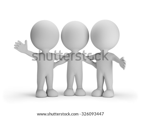 Three friends standing arm in arm. 3d image. White background.