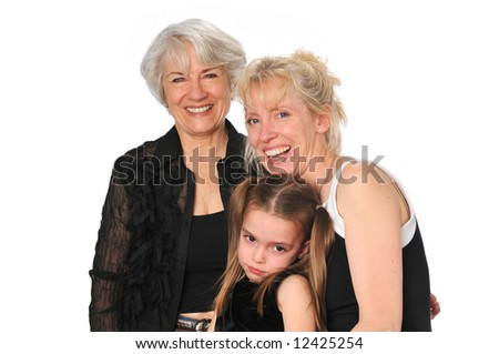 Three Generations grandmother, daughter and granddaughter isolated on white