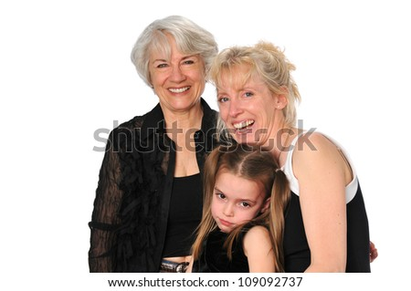 Three Generations of women smiling isolated on a white background