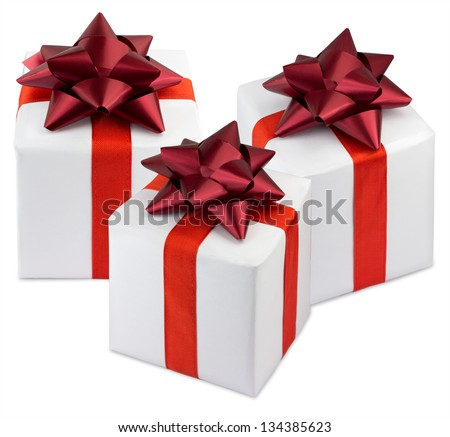 Three gift boxes isolated on white background