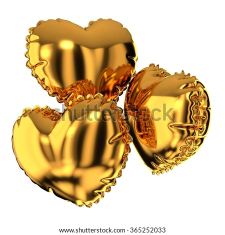 Three golden heart shaped balloons on a white background. Render.