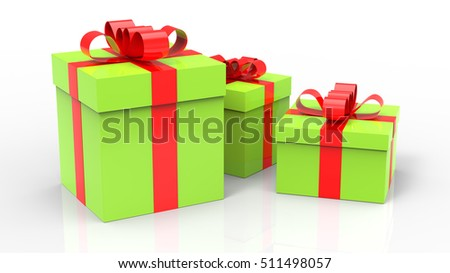 Three Green Gift Boxes 3d render