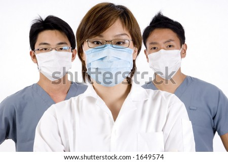 Three healthcare professional on white background