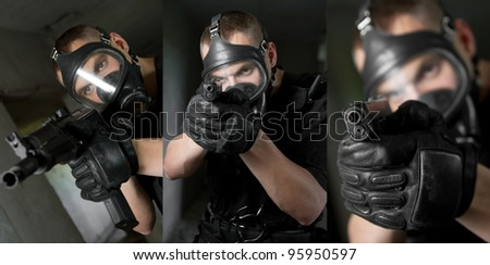 Three images of armed young soldier in gas mask holding weapons