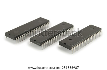 Three integrated circuits isolated on the white background