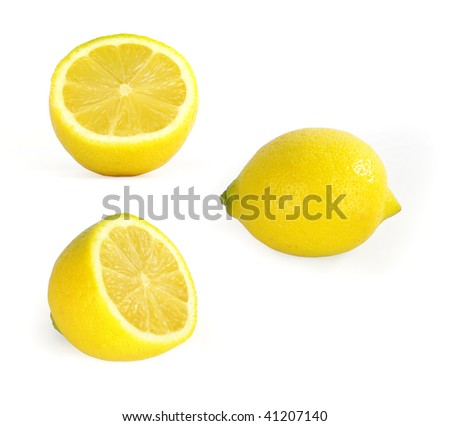 Three Lemon??On a white background at