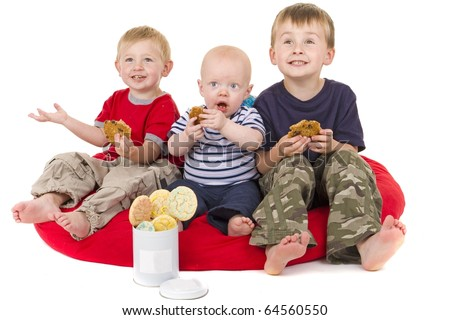 Three Little Boys love to eat cookies