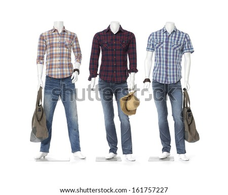 three male mannequin dressed in jeans with bag, hat- full length