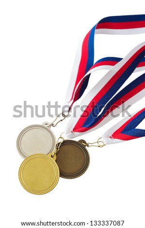 Three medals hanging from a red, white and blue ribbon isolated on white background