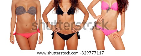 Three nice female bodies with bikini isolated on a white background