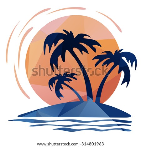 Three palm trees and sun on a white  background.