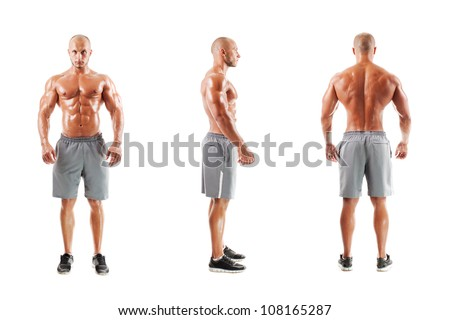 Three photos of a muscular man on a white background