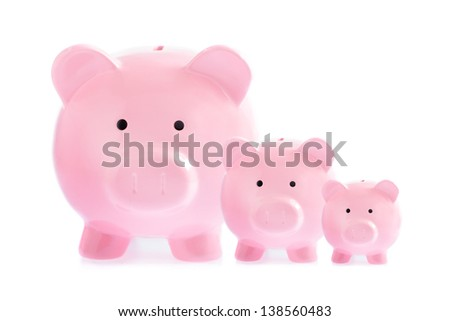 Three pink piggy banks isolated on white background