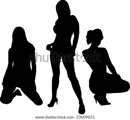 Three sexy women in silhouette on a white background