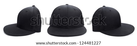Three shots of a fitted black hat from different angles isolated on a white background.