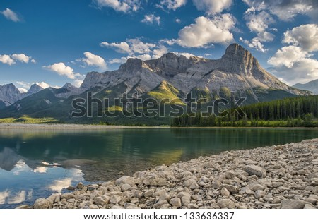 Three Sisters Mountain Range as seen from Spray Lakes, Canmore Alberta