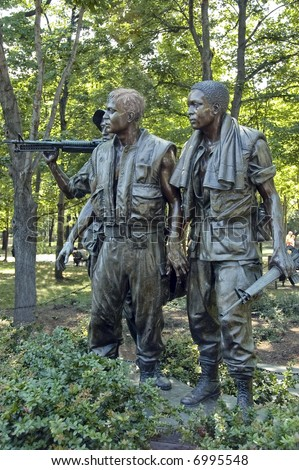 Three Soldiers statues.  The Vietnam war memorial statues sculpted by Frederick Hart  located in the National Mall and Memorial Parks of Washington, DC