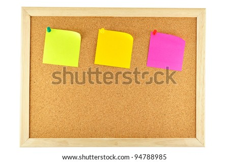 three sticky note pinned on cork notice board