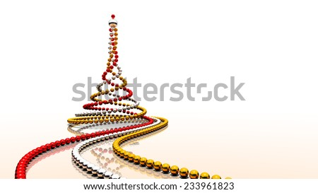 Three strings of colour balls - red, silver and gold - forming christmas tree shape. Rendered 3D image.