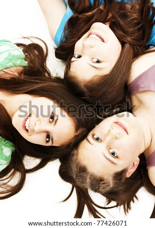 Three teen girls. Education, holidays.