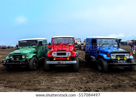 Three Toyota jeeps parked on Bromo Tengger Semeru National Park in July 2016.