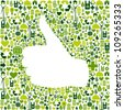 Thumb up hand over Go green icons texture background. - stock vector