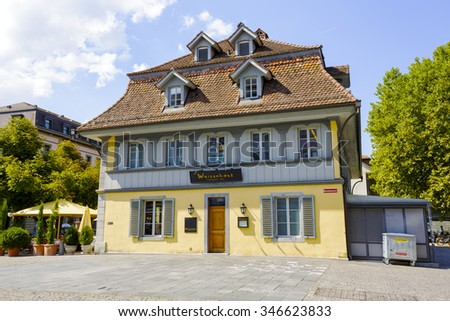 THUN, SWITZERLAND - SEPTEMBER 08, 2015: The building of Restaurant Waisenhaus (The orphanage Restaurant) is located in the heart of the City of Thun with a population of approx. 45000 residents