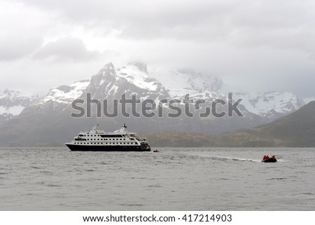 TIERRA DEL FUEGO, CHILE - NOVEMBER 20,2014:Disembarkation of tourists from the cruise ship to the Aguila glacier in southern Patagonia.