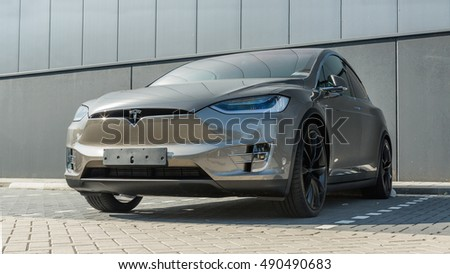 TILBURG, NETHERLANDS - SEPTEMBER 25, 2016: TESLA  MODEL-S silver.. Tesla Motors Assembly Plant in Tilburg, Netherlands.