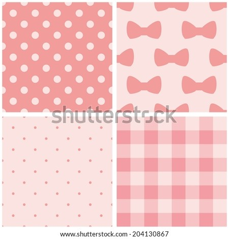 Tile baby pink pattern set with polka dots, checkered plaid and cute bows