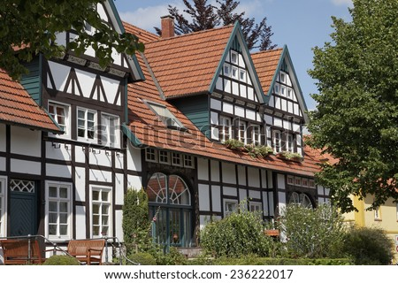 Timbered house in Schledehausen, Lower Saxony, Osnabrueck country, Lower Saxony, Germany, Europe