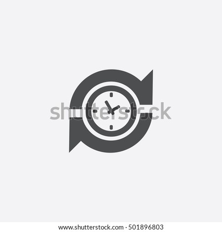 time arrow icon, on white background