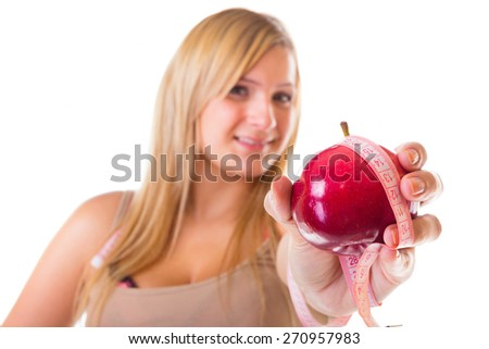 Time for healthy diet slimming. Woman plus size large girl with apple measuring tape - weight loss concept. Isolated on a white background.